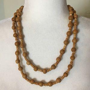 Vintage Wooden Beads Necklace Long Boho